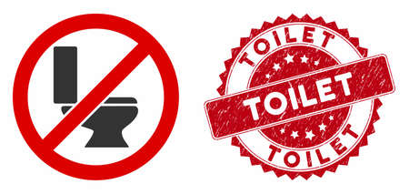 Vector no toilet bowl icon and rubber round stamp watermark with Toilet text. Flat no toilet bowl icon is isolated on a white background. Toilet stamp seal uses red color and rubber design.