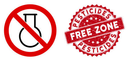 Vector no chemical glass icon and rubber round stamp seal with Pesticides Free Zone caption. Flat no chemical glass icon is isolated on a white background.