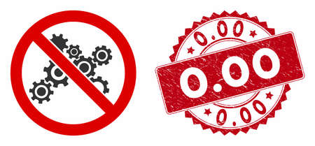 Vector no gears icon and distressed round stamp seal with 0.00 caption. Flat no gears icon is isolated on a white background. 0.00 stamp seal uses red color and grunge surface.