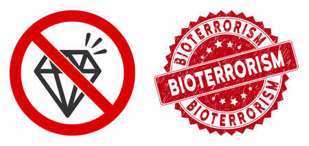 Vector no brilliant icon and rubber round stamp seal with Bioterrorism text. Flat no brilliant icon is isolated on a white background. Bioterrorism stamp uses red color and rubber texture.