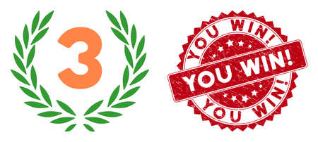 Vector third laurel wreath icon and rubber round stamp seal with You Win! phrase. Flat third laurel wreath icon is isolated on a white background. You Win! stamp uses red color and grunged texture.