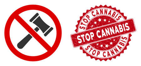 Vector no bids icon and grunge round stamp seal with Stop Cannabis text. Flat no bids icon is isolated on a white background. Stop Cannabis stamp seal uses red color and distress texture.