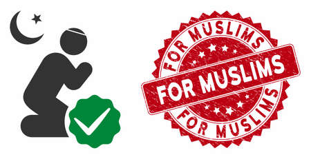 Vector for muslims icon and grunge round stamp seal with For Muslims caption. Flat for muslims icon is isolated on a white background. For Muslims stamp seal uses red color and grunge texture.