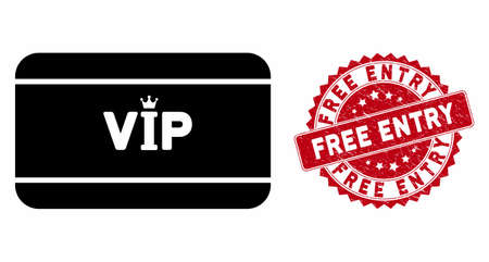 Vector VIP access card icon and corroded round stamp seal with Free Entry phrase. Flat VIP access card icon is isolated on a white background. Free Entry stamp seal uses red color and grunged surface. Stockfoto - 133353314