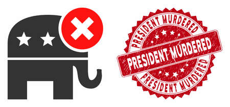 Vector reject republican icon and grunge round stamp seal with President Murdered phrase. Flat reject republican icon is isolated on a white background.