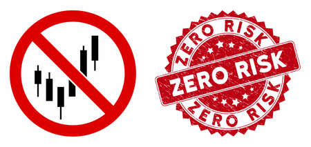 Vector no candlestick chart icon and rubber round stamp seal with Zero Risk text. Flat no candlestick chart icon is isolated on a white background. Vectores