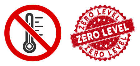 Vector no temperature icon and rubber round stamp seal with Zero Level phrase. Flat no temperature icon is isolated on a white background. Zero Level stamp seal uses red color and distress design.