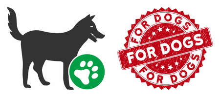 Vector for dogs icon and rubber round stamp seal with For Dogs caption. Flat for dogs icon is isolated on a white background. For Dogs stamp seal uses red color and scratched surface.