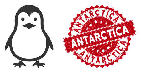 Vector penguin icon and distressed round stamp seal with Antarctica phrase. Flat penguin icon is isolated on a white background. Antarctica stamp seal uses red color and grunged design.