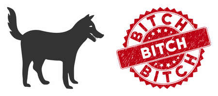 Vector dog icon and rubber round stamp seal with Bitch text. Flat dog icon is isolated on a white background. Bitch seal uses red color and rubber surface.