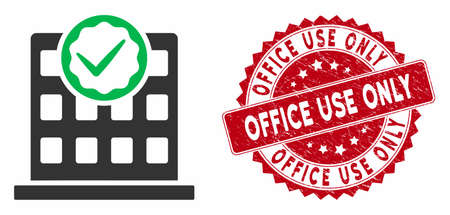 Vector office use only icon and rubber round stamp watermark with Office Use Only caption. Flat office use only icon is isolated on a white background. Çizim