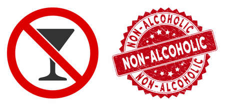Vector no martini glass icon and rubber round stamp seal with Non-Alcoholic text. Flat no martini glass icon is isolated on a white background. Illustration