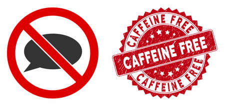 Vector no message icon and rubber round stamp watermark with Caffeine Free text. Flat no message icon is isolated on a white background. Caffeine Free stamp uses red color and rubber design.