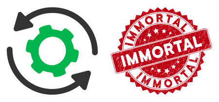 Vector infinite rotation icon and rubber round stamp watermark with Immortal caption. Flat infinite rotation icon is isolated on a white background. Immortal stamp uses red color and rubber design.