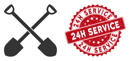 Vector shovels icon and rubber round stamp seal with 24H Service caption. Flat shovels icon is isolated on a white background. 24H Service stamp seal uses red color and grunge design.