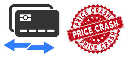 Vector credit card exchange icon and rubber round stamp seal with Price Crash caption. Flat credit card exchange icon is isolated on a white background.