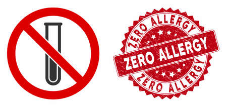 Vector no test-tube icon and grunge round stamp seal with Zero Allergy caption. Flat no test-tube icon is isolated on a white background. Zero Allergy seal uses red color and grunge design. Stock Illustratie