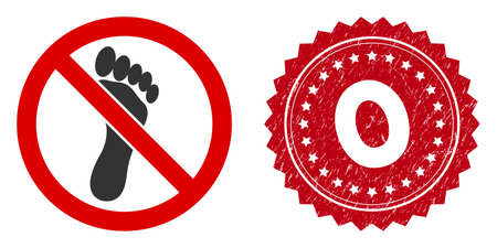 Vector no footprint icon and distressed round stamp seal with 0 caption. Flat no footprint icon is isolated on a white background. 0 stamp uses red color and distress design.