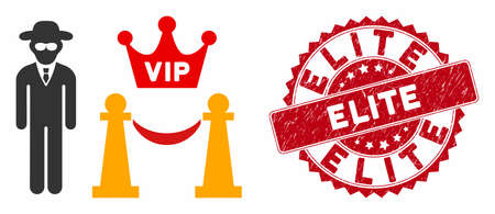 Vector VIP access icon and distressed round stamp seal with Elite phrase. Flat VIP access icon is isolated on a white background. Elite stamp seal uses red color and rubber surface.
