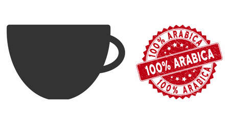 Vector tea cup icon and corroded round stamp watermark with 100% Arabica phrase. Flat tea cup icon is isolated on a white background. 100% Arabica stamp seal uses red color and dirty surface. Stok Fotoğraf - 133354714