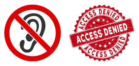 Vector no listen icon and rubber round stamp seal with Access Denied caption. Flat no listen icon is isolated on a white background. Access Denied stamp seal uses red color and dirty design.