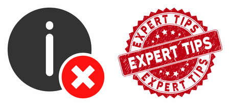 Vector incorrect info icon and rubber round stamp seal with Expert Tips caption. Flat incorrect info icon is isolated on a white background. Expert Tips stamp seal uses red color and dirty design.