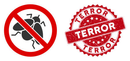 Vector no fly insect icon and rubber round stamp seal with Terror text. Flat no fly insect icon is isolated on a white background. Terror stamp seal uses red color and grunged surface.