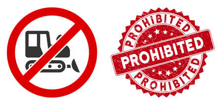 Vector no bulldozer icon and grunge round stamp seal with Prohibited text. Flat no bulldozer icon is isolated on a white background. Prohibited stamp seal uses red color and rubber texture. Illustration