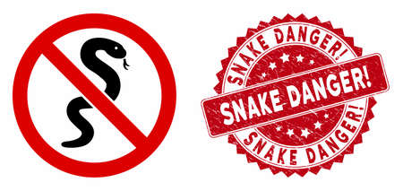 Vector no snake icon and grunge round stamp seal with Snake Danger! phrase. Flat no snake icon is isolated on a white background. Snake Danger! seal uses red color and grunge texture.