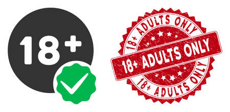 Vector adults only icon and grunge round stamp seal with 18  Adults Only text. Flat adults only icon is isolated on a white background. 18  Adults Only stamp seal uses red color and grunge texture. Ilustração