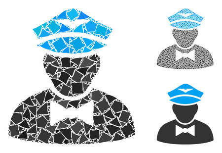 Airline steward composition of rugged elements in different sizes and shades, based on airline steward icon. Vector raggy elements are grouped into collage.