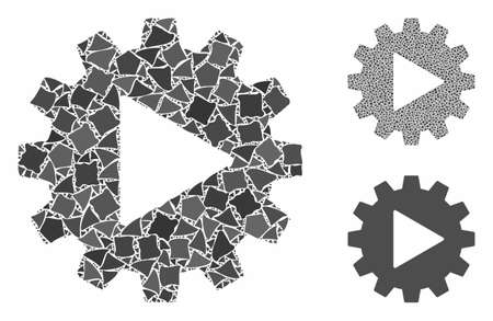 Automation gear mosaic of abrupt items in variable sizes and color tinges, based on automation gear icon. Vector rough pieces are combined into collage. 일러스트