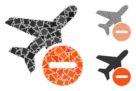 Airplane restricted mosaic of uneven pieces in variable sizes and color hues, based on airplane restricted icon. Vector joggly pieces are composed into collage. Фото со стока - 133475619