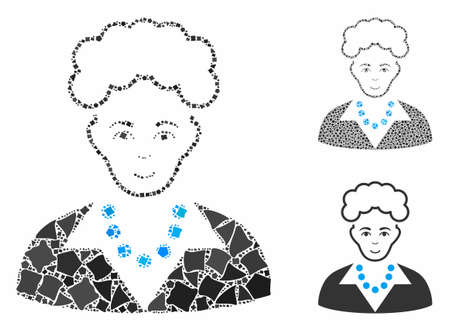 Blonde lady mosaic of raggy pieces in various sizes and color hues, based on blonde lady icon. Vector humpy dots are grouped into mosaic. Blonde lady icons collage with dotted pattern. Ilustrace