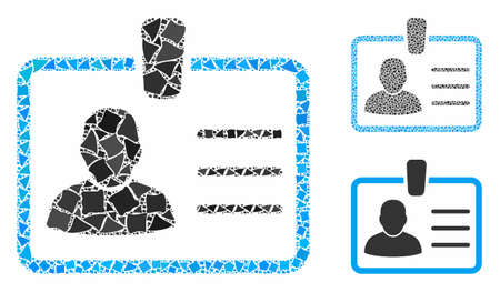 Badge mosaic of uneven elements in variable sizes and color tones, based on badge icon. Vector tremulant elements are organized into collage. Badge icons collage with dotted pattern.