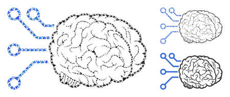 Brain computer interface composition of irregular elements in variable sizes and color tinges, based on brain computer interface icon. Vector tuberous elements are combined into collage.