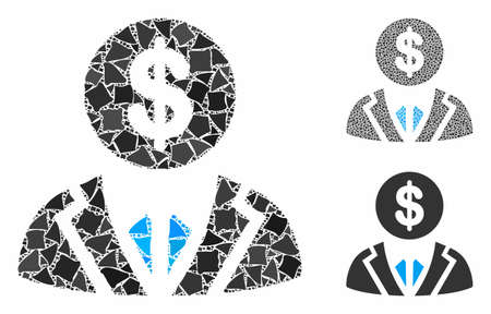 Banker composition of raggy parts in various sizes and color tinges, based on banker icon. Vector irregular parts are combined into composition. Banker icons collage with dotted pattern.