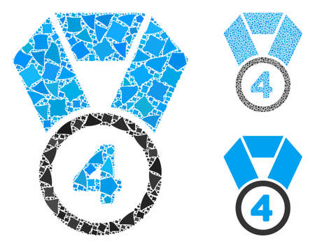 4th place medal composition of tremulant items in various sizes and shades, based on 4th place medal icon. Vector tremulant parts are composed into composition.