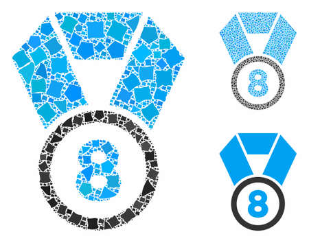 8th place medal composition of trembly items in variable sizes and shades, based on 8th place medal icon. Vector bumpy parts are grouped into composition.