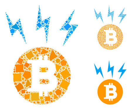 Bitcoin lightnings mosaic of rough items in various sizes and color tinges, based on Bitcoin lightnings icon. Vector ragged items are grouped into mosaic.