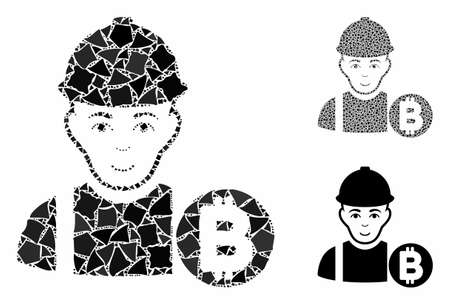 Bitcoin miner composition of joggly parts in various sizes and color tinges, based on Bitcoin miner icon. Vector tuberous parts are organized into composition.