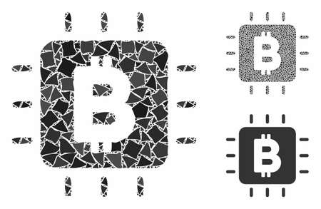 Bitcoin processor chip composition of trembly elements in variable sizes and color tints, based on Bitcoin processor chip icon. Vector uneven items are grouped into composition. Illusztráció