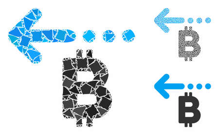 Bitcoin refund back mosaic of humpy parts in various sizes and color tones, based on Bitcoin refund back icon. Vector humpy pieces are grouped into mosaic.