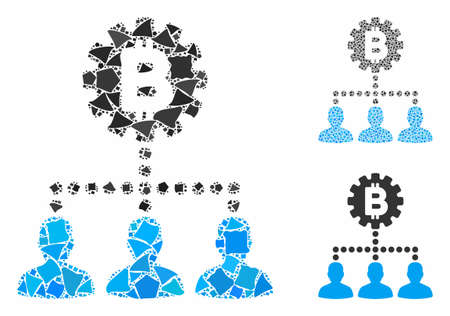 Bitcoin service staff composition of rugged pieces in different sizes and color hues, based on Bitcoin service staff icon. Vector humpy elements are united into composition.