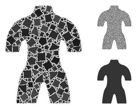 Body mosaic of humpy elements in various sizes and color hues, based on body icon. Vector humpy items are organized into collage. Body icons collage with dotted pattern. Illusztráció