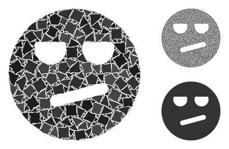 Bored smiley composition of unequal pieces in various sizes and color hues, based on bored smiley icon. Vector rugged pieces are composed into illustration.