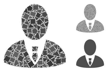Boss composition of uneven elements in different sizes and shades, based on boss icon. Vector abrupt elements are composed into collage. Boss icons collage with dotted pattern. Illusztráció
