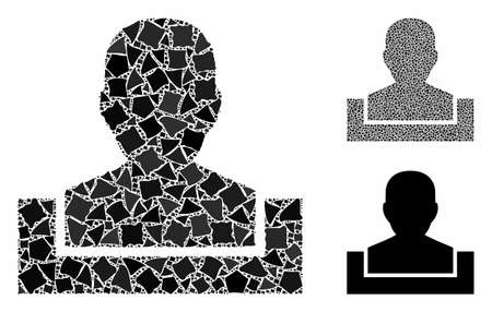 Box mosaic of trembly pieces in variable sizes and color tones, based on box icon. Vector trembly parts are grouped into collage. Box icons collage with dotted pattern.
