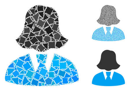 Business lady mosaic of rugged pieces in various sizes and color tints, based on business lady icon. Vector rugged items are composed into collage. Business lady icons collage with dotted pattern.