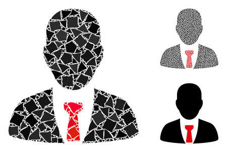 Businessman mosaic of tremulant elements in variable sizes and color tones, based on businessman icon. Vector rough elements are organized into mosaic. Businessman icons collage with dotted pattern. Illusztráció